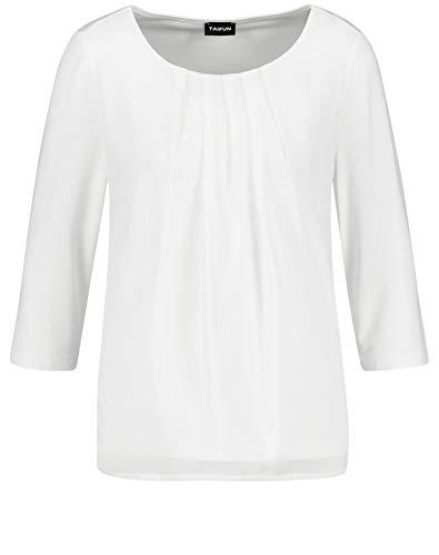Taifun Damen 3/4 Arm Shirt Mit Chiffon Figurumspielend, Leger Offwhite 38