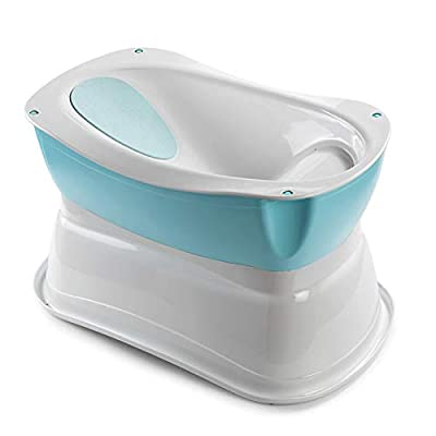 Summer Right Height Bath Tub – Elevated and Spacious Baby Bathtub with Newborn Bath Support – Extended Use Features Include Tubside Seat and Stepstool