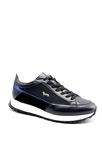 Sneackers Uomo Harmont&Blaine EFM211.050 Stringata Casual in Pelle Blu Una Calzatura Comoda Adatta per Tutte Le Occasioni. Primavera Estate 2021. EU 42