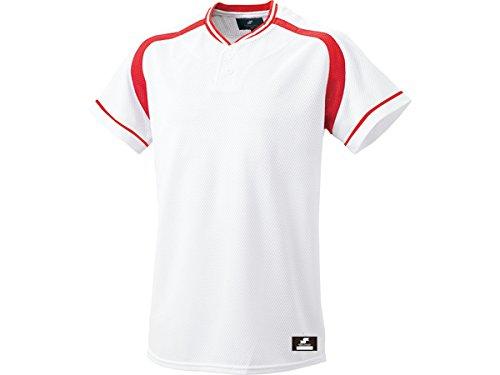 [エスエスケイ] ベースボールウェア 2ボタンプレゲームシャツ [メンズ] BW2200 ホワイト×レッド (1020) 日本 O (日本サイズ2L相当)