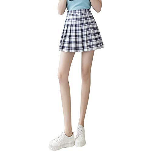 Faldas para Mujeres, niñas, Vestido Corto, Cintura Alta, Plisado, Patinadora, Falda de Tenis, Falda Escolar, Uniforme, Minifalda Acampanada (Dark Blue, Medium)