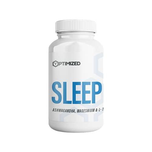 Sleep - Pflanzliches Schlafmittel / Schlaftabletten | Ashwagandha - Magnesium - L-Tryptophan | Hochdosiert | Extra Stark | Rezeptfrei | 100% Science Based