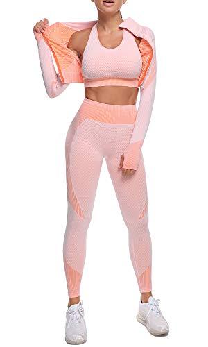 OLCHEE Women's 3 Piece Workout Outfit Set - Sports Bra Jacket High Waist Legging