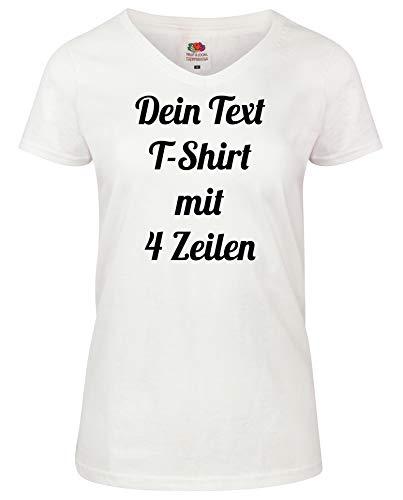 Damen T-Shirt V-Auschnitt Bedrucken mit dem Amazon Tshirt Designer. T-Shirt selber gestalten. T-Shirt Druck. T-Shirt mit Wunschtext. T Shirts sind Ökotex-100 Zertifiziert. Weiss M