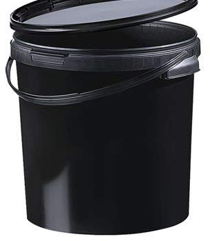 Fuduu.de Kunststoff Eimer farbig 21,1 ltr. mit Deckel (1 Stück) (schwarz/Black)