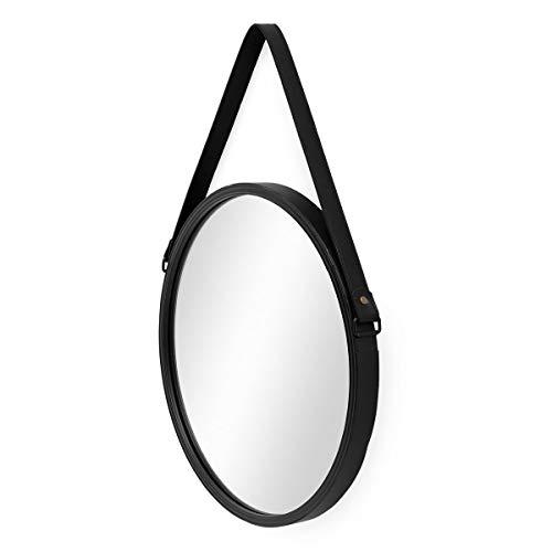 PHOTOLINI Spiegel Rund Schwarz mit Lederband 40 cm Durchmesser | Runder Wand-Spiegel mit Metallrahmen