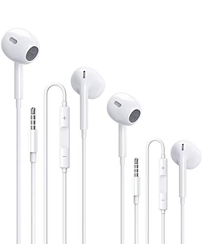 2 Pack Auriculares con Cable con Micrófono y Control de Volumen,Adecuados Headphone Sonido Estéreo Aplicar para Huawei,Sony,Samsung,XiaoMi, MP3,MP4,PC,Android y Todos los Dispositivos de 3.5 mm