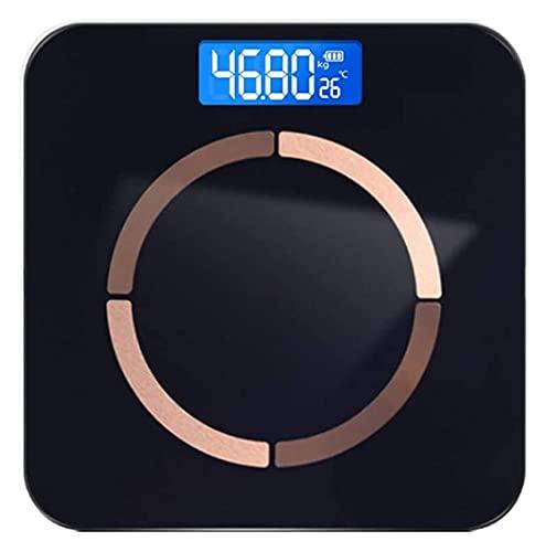 Bluetooth Smart Bathroom Escalas Escala de Grasa Corporal con teléfono Inteligente App MAX Peso 400 Lbs / 180kg Iluminado DIRIGIÓ Monitor (Color : Black, Size : USB Charging)