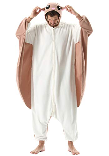 Jumpsuit Onesie Tier Karton Kigurumi Fasching Halloween Kostüm Lounge Sleepsuit Cosplay Overall Pyjama Schlafanzug Erwachsene Unisex Fliegendes Eichhörnchen for Höhe 140-187CM Damen Herren