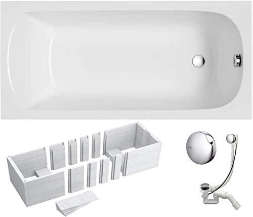 VBChome Badewanne 150x70 cm Acryl SET 3in1 Wannenträger Siphon Wanne Rechteck Weiß Design Classic Styroporträger Ablaufgarnitur in Chrom Viega Simplex für 1 Personen (150x70)