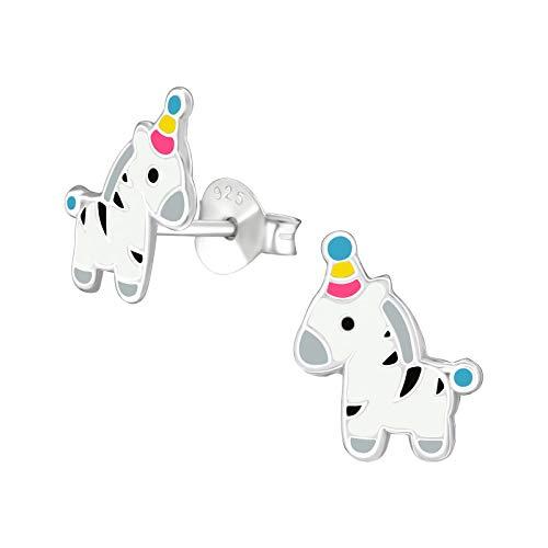 Tata Gisele© Kinder-Ohrringe aus Sterling-Silber 925/000 rhodiniert und Epoxidharz – Zebra weiß gestreift schwarz grau mit Clownhut – Hut blau gelb rosa – 10 mm