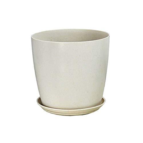 KJUILO-1 Pot de Fleurs en Fibre de Plante Blanche pour Protection de l'environnement (T:16 cm B:12 cm H:14,5 cm) Imitation Porcelaine Pot de Fleurs Rond en Pot de Fleurs en Plastique Vert