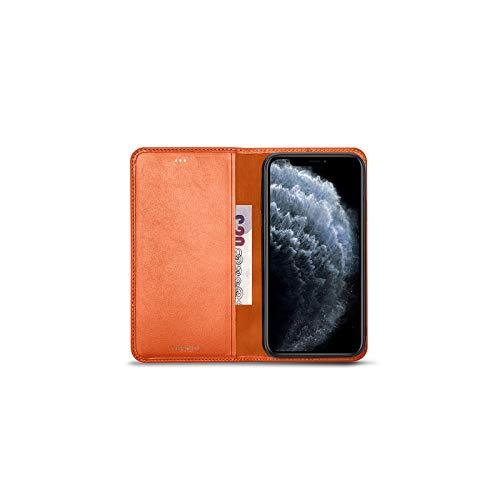 Lucrin - Funda Cartera Compatible con iPhone 12/ iPhone 12 Pro - Naranja - Piel Liso