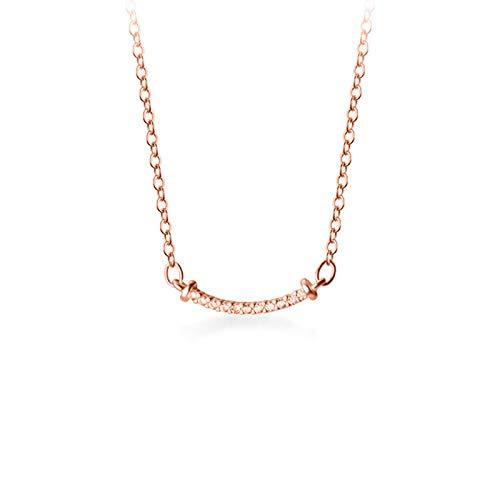 mingtian Genuino Plata de Ley 925 Moda Curvada Sonrisa Deslumbrante CZ Collar de Cadena para la Boda de Las Mujeres Joyería del Día de San Valentín DB29