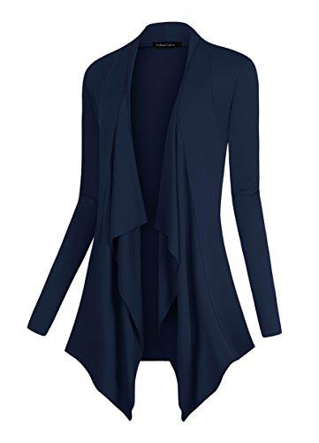 Urban CoCo Women's Drape Front Open Cardigan Long Sleeve Irregular Hem (L, Navy)