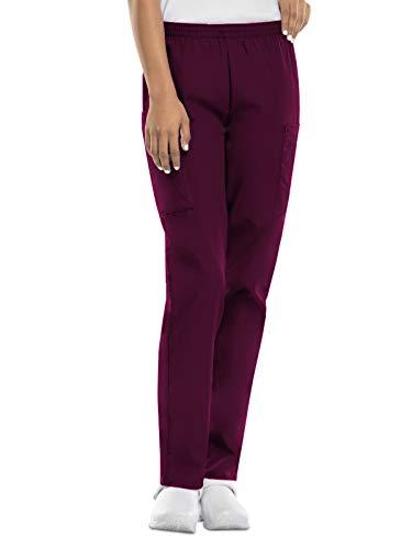 CHEROKEE Women's Workwear Elastic Waist Cargo Scrubs Pant, Wine, Medium-Petite
