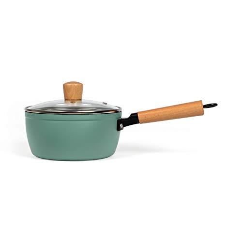 Stielkasserolle mit Deckel Induktion - Stieltopf Klein 18 cm mit Holzgriff - Kochtopf Beschichtet mit Stiel Induktionsgeeignet - Milchtopf mit Glasdeckel - Kasserolle in Grün