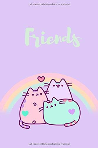 Friends pusheen Notizbuch: süßes pusheen Notizbuch für Freunde, Mädchen und Schule. mit 120 linierten Seiten, weißes Papier, Größe 6x9 Zoll