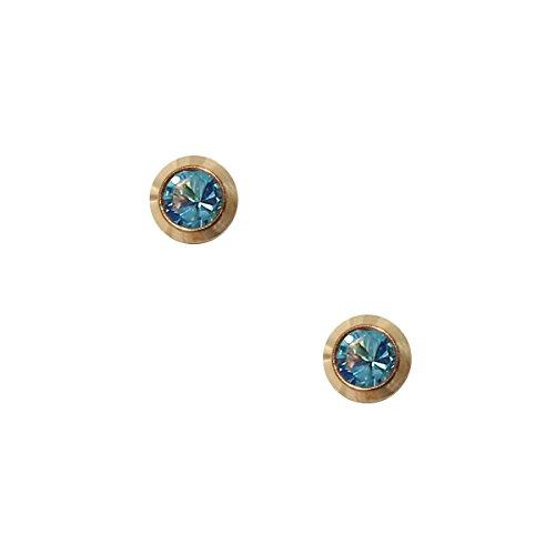 Erstohrstecker Chirurgenstahl vergoldet Sterile Ohrstecker 4mm Zarge mit Stein in hellblau