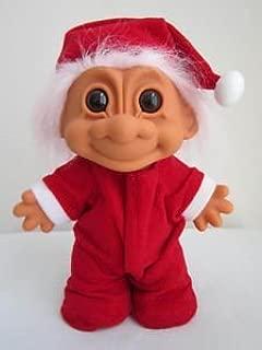 Russ Christmas Santa Troll Doll Pink Hair Red Trap Door Pajamas