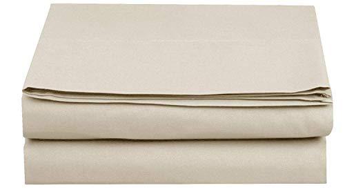 A$ZCOLLECTION Sábana bajera ajustable 100% algodón egipcio de 1200 hilos, suave y cómoda con elástico ajustable con 20 cm de profundidad, algodón, crema, Double 135 x 190 cm