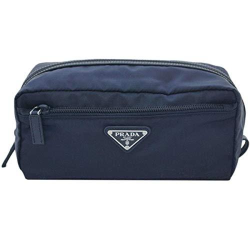 Prada Tessuto Nylon Saffiano Leather Men's Necessaire Toiletry Travel Bag Blue 2NA028