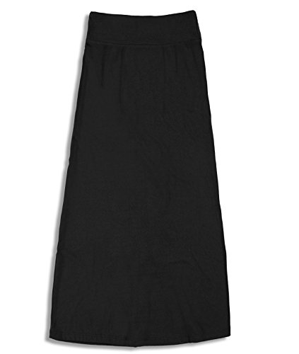 Free to Live Girls 7-16 Maxi Skirts - Great for Uniform (Large, Black)