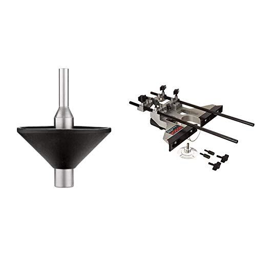 Bosch RA1151 Router Subbase Centering Pin and Cone with Bosch Deluxe Router Edge Guide With Dust Extraction Hood & Vacuum Hose Adapter RA1054