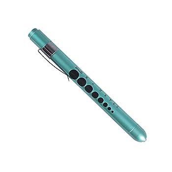 Aokin Medical Pen Lights for Nurses Doctors Reusable LED Medical Penlight Flashlight with Pupil Gauge and Ruler White Light Teal