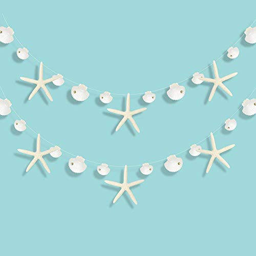 Starfish and Seashell Garland Kit for Ocean Coastal Nautical Party Decoration Starfish Cutouts Hanging Bunting Banner for Under the Sea Mermaid Birthday Beach Wedding Baby Shower Kids Room Home Décor