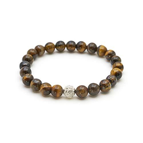 Ojo de tigre pulsera de perlas genuinas con piedra natural y perlas de plata de ley 925 - BERGERLIN