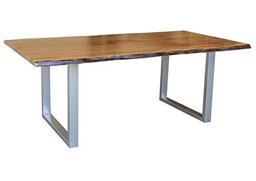 Table à manger 200x100cm – Fer et bois massif d'acacia laqué (Noisette) - FREEFORM 2 #03