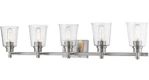 Z-Lite 464-5V-BN Bohin - 5 Light Bath Vanity, Brushed Nickel Finish with Clear Seedy Glass