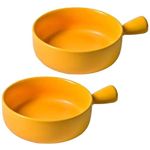 2 Tazones de Sopa de Cebolla Francesa Cuencos de Porcelana con Un Mango para Sopa de Cereal Estofado de Carne Fría 8. 5 Pulgadas (Amarillo)