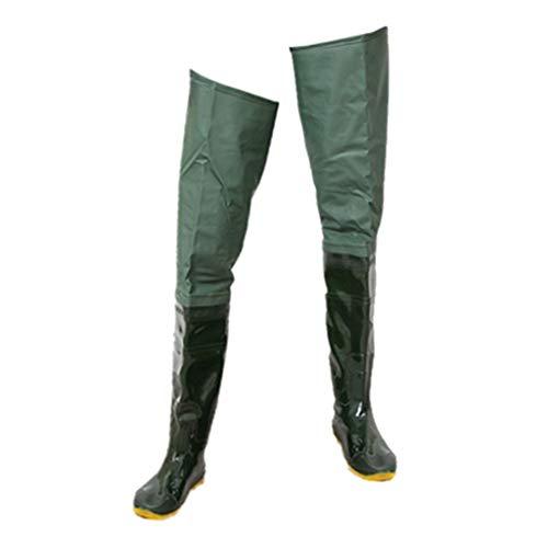 SDENSHI Damen Herren Wathose Anglerhose Teichhose mit Stiefeln, Grün - 40