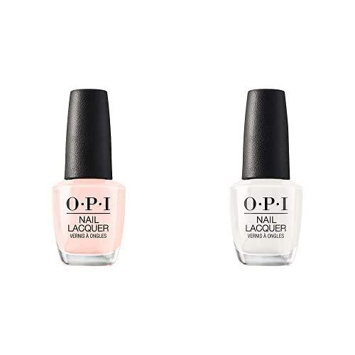 OPI Nail Polish, Nail Lacquer, Bubble Bath, Neutral Pink 0.5 fl oz, OPI Nail Polish, Nail Lacquer, Funny Bunny, White Nail Polish, 0.5 fl oz