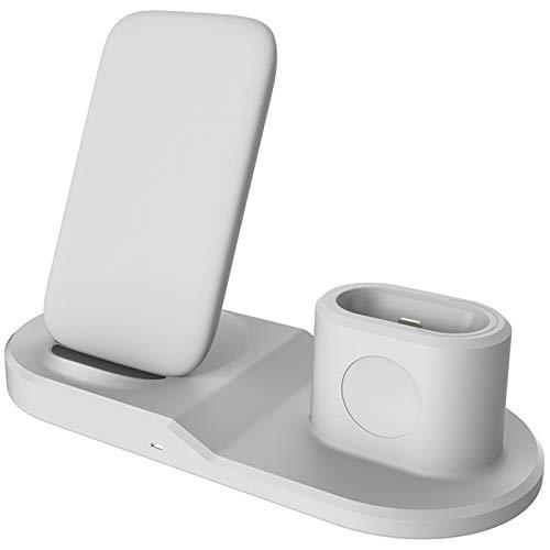 3 en 1 Soporte de Cargador inalámbrico rápido Compatible con Apple AirPods 2th / Apple Watch/iPhone Qi Wireless Charger Dock,Blanco