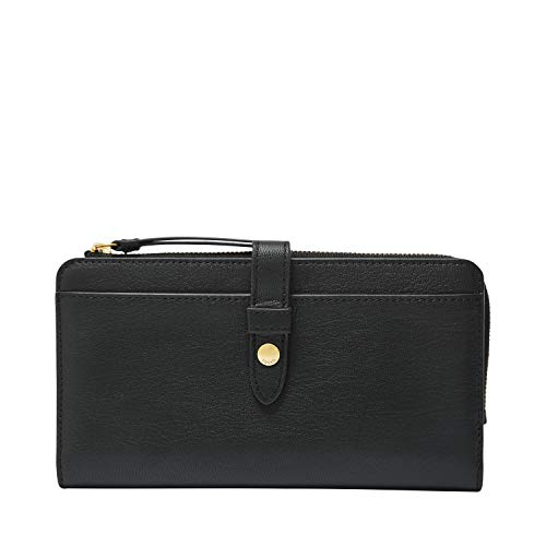 Fossil Women's Fiona Leather Tab Wallet, Black