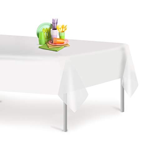 White 12 Pack Premium Disposable Plastic Tablecloth 54 Inch. x