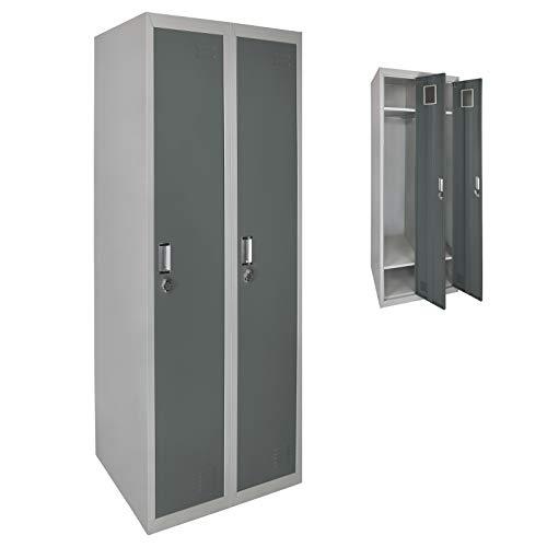Spind Garderobenschrank Doppelspind Metallschrank Umkleideschrank 180 x 60 x 50 cm ; Grau-Dunkelgrau