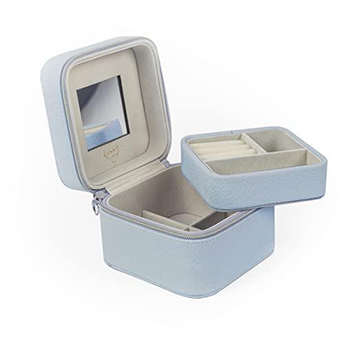 Krissy&Co - Joyero de viaje pequeño para mujeres y niñas (azul claro), dos capas para almacenamiento de pendientes, collares y anillos.