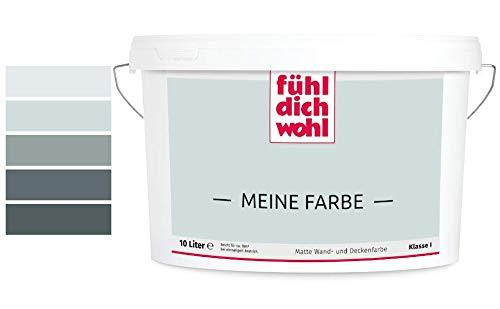 Fühl Dich Wohl Meine Farbe grau, matte Wandfarbe grau, hohe Deckkraft, verschiedene Grautöne zur Auswahl (2,5L, Hellgrau 14-16)