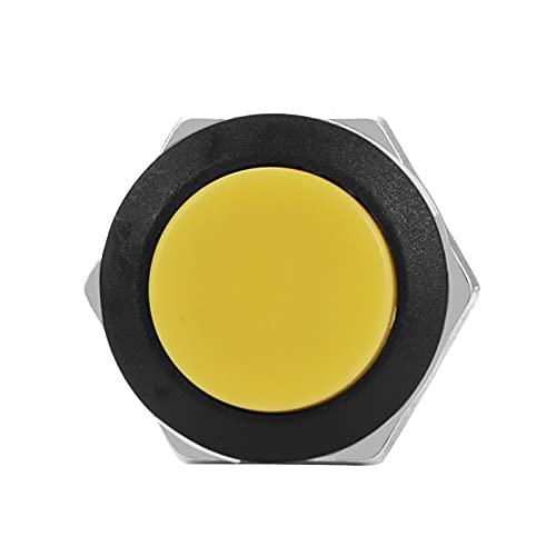 HYJ-LABA, 2 unids mini interruptor de inicio redondo momentáneo en / desactivado botones de empuje interruptor de cuerno automóvil accesorios interior AC 125V 6A / 250V 3A coche ( Color : Amarillo )