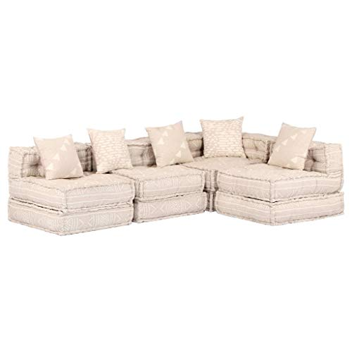 Canapé d'angle 4 places Beige Tissu Moderne Confort