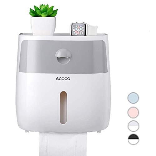 ECOCO Portarrollos de papel higiénico autoadhesivo, dispensador de papel higiénico de pared de ABS, con cajón y estante, contenedor de almacenamiento impermeable para baño, gris