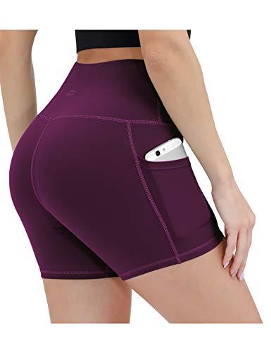 ALONG FIT Damen Leggings Kurze Sporthose mit Taschen Blickdichte Yogahose Hohe Taille Laufshorts Highwaist für Fitness Sport Maulbeere M
