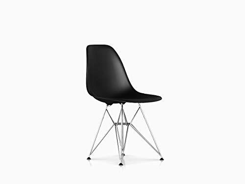 Herman Miller Eames Molded Plastic Dining Chair, Black Shell/Chrome Base -
