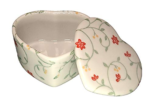 ACSWEBSHOP - Joyero de cerámica con Forma de corazón, diseño de Flores Rojas