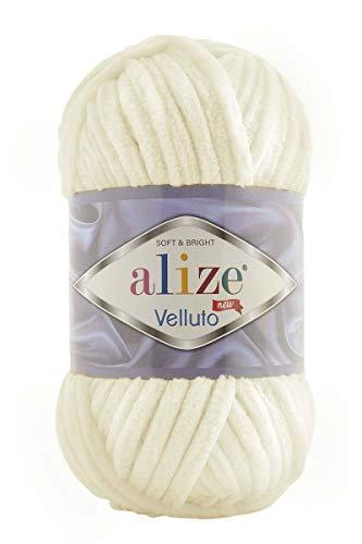 Alize 5 x 100 g Velluto Wolle 500 Gramm super Bulky Chenillegarn,Kuschelweich 100g, Kissen Babydecke etc (Creme 62)