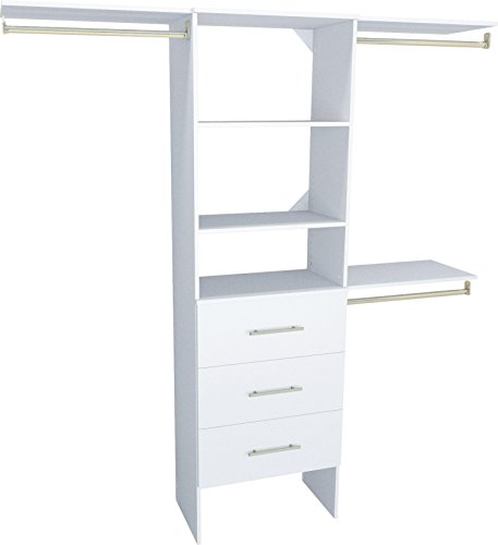 ClosetMaid 1937040 SuiteSymphony Modern 25-Inch Closet Organizer with Shelves and 3-Drawers, Pure White